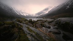 Sitting in the rain by the lake (tyfihi) Tags: timelapse video hd dolly rain mountains snow lake clouds norway norge sryp time lapse litledalsvatn