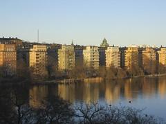 Kungsholmen in sunset (roberteklund) Tags: västerbron nofilter stockholm sweden sverige sunset dusk kungsholmen 2012 spring vår outdoors