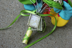 Bride Brooch and Satin Bouquet (rbkcreations) Tags: pink blue wedding orange green yellow bride turquoise brooch bridesmaid bouquet lime bling satin alternative organza boutonniere buttonbouquet rbkcreations broochbouquet