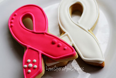 pink white close (Elizabeth / LoneStarsandStripes) Tags: pink cookies ribbons cookie purple cancer breastcancer royalicing decoratedcookies cookiedecorating awarenessribbons
