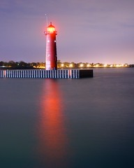 Kenosha North Pier Light (rexp2) Tags: lighthouse reflection night lakemichigan lighthousetrek sonynex5n leicahektor28mmf63 vacation2013spring