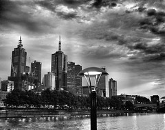 Melbourne dawn (YAZMDG (14,000 images)) Tags: city blackandwhite bw architecture buildings river lowlight cityscape noiretblanc australia melbourne nb sombre yarra cbd stucture yaz yazmdg obscuritee ystudio yazminamichledegaye