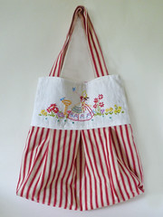 Upcycled Linen Embroidery and Red Ticking Tote Bag (Bunny Bosworth) Tags: red vintage bag handmade linen embroidery sewing craft retro shoulder tote embroidered shopper ticking upcycled bunnybosworth