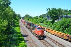 CN 2265 & IC 2723 head east on a beautiful summer day (Michael Berry Railfan) Tags: cn quebec montreal ge generalelectric canadiannational dash944cw dash9 es44dc gevo ic2723 cn2265
