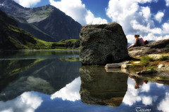 heavy reflections (Tiziano Photography) Tags: girls sky panorama mountain lake water clouds montagne reflections landscape lago nuvole cielo acqua pietra riflessi rok gressoney ragazze d7100 lagogabiet nikond7100
