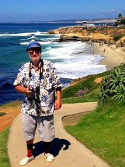 Chic Greek Captain's Hat In La Jolla (Chic Bee) Tags: blue portrait cliff white green beach sunshine coast sand beige rocks colorful aqua surf sienna lajolla pacificocean shorts southerncalifornia seashore argylesocks sandiegocounty promontory boatshoes sperrytopsiders patternedshirt appleiphone5 greekcaptainshat