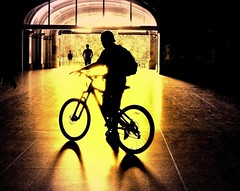 Cyclist Silhouette (Explore) (missgeok) Tags: lighting light people orange black colors bike bicycle yellow closeup backlight composition spectacular golden amazing interesting mood colours cyclist angle artistic pov transport perspective sydney creative silhouettes atmosphere australia explore textures backlit unusual framing haymarket depth selectivefocus lightshadows goldenglow bikerider 2wheels centralrailwaystation goldencolours goldentones colourtones angleofview nikond90 cyclistsilhouette onecyclist