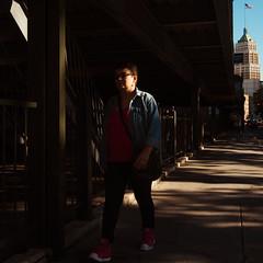 Shadows #1 (Jesse Acosta) Tags: light shadow woman sanantonio square flag streetphotography usflag streetphotographer 2013 jesseacosta