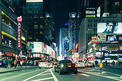 Left Turn Lane (Sean Batten) Tags: city urban usa newyork cars night america nikon applebees cityscape unitedstates manhattan nighttime wicked adverts d800 2470 almosthuman vision:outdoor=0872