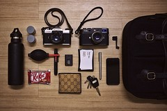 What's in my bag? (foxsama) Tags: leica color slr film apple pen 35mm keys photography kodak f14 voigtlander battery rangefinder gucci 55mm card m8 f22 thumbsup whatsinmybag kitkat fuji