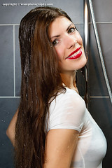Karen soaked in her jeans (Wet and Messy Photography) Tags: woman wet water girl shower karen jeans wethair soaked wetlook wetjeans