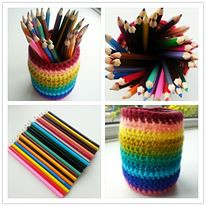 pencil pot (The Patchwork Heart) Tags: rainbow crochet recycle recycling pencilpot upcycle upcycling jarcosy thepatchworkheart crochetedjarcosy