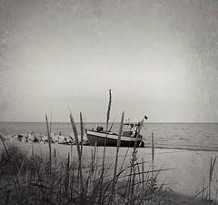 Magnetyczny spokj Orowa / Magnetic Peace Of Orlowo (Dariusz Sobiecki - Photo Traces) Tags: cameraphone sea sky bw texture beach vintage photography boat dune poland nostalgic fotografia bnw gdynia trojmiasto trjmiasto flickrandroidapp:filter=none