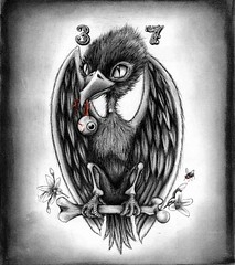 Raven (nottheally) Tags: bird eye art wall night pen pencil ink dark death book design fly sketch punk comic nocturnal drawing gothic hipster evil sketchbook fantasy charcoal eyeball morbid necessary bones beast hanging macabre concept draw 37 winged creature sick raven nonsense mori graphite memento avian micron mythical mythological