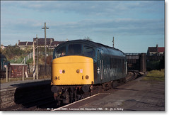 45117 passes 45001 in Lawrence Hill Yard  November 1985 (Bristol RE) Tags: bristol peak 45 lawrencehill class45 barrowroad 45001 45117 bananavan 882011 b882011