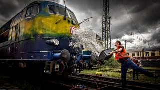Waschtag bei der Bundesbahn