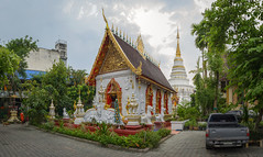 Meditation garden (Michal Soukup) Tags: trip panorama dogs car clouds thailand temple pagoda stupa wide monk chiangmai stitched nikond600 nikkor50mmf14g