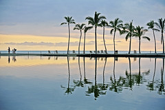 Sunset ( island girl ) Tags: ocean sunset reflection water clouds hawaii pacific may palm palmtree hawaiian tropic kona kohala