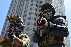 AZ330 Muzzles (skippyclese) Tags: building glasses call gun mask cosplay scope duty barrel shades camo ghosts con muzzle animazement animazement2014