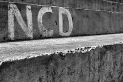 NCD (SJGPhotography) Tags: white black writing concrete grey paint stadium steps vietnam step worn hue 2014