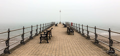 Misty Morn (clive_metcalfe) Tags: jetty water beach bemch tiles rail post swanage dorset uk mist fog haze visibility weather climate prominade