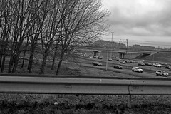 Traffic jam (Martijn A) Tags: traffic jam file stau embouteillage car auto voiture highway snelweg autobahn autoroute bw monochrome blackandwhite zwartwit canon dslr d550 35mm lens wwwgevoeligeplatennl a2