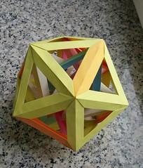 Six tetrahedra in an icosahedron, five-fold view (Aneta_a) Tags: origami modularorigami polyhedron polyhedra polypolyhedra icosahedralsymmetry octahedralsymmetry simplepaper icosahedron tetrahedron dirkeisner francisow tomokofuse