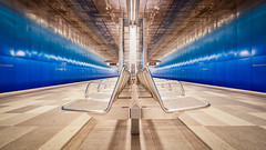 Hamburg - Underground I (Stefan Sellmer) Tags: lights überseequartier blue hamburg seats longexposure germany architecture uww colors subway silver indoor deutschland de