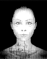 S1NGUL4R1TY / 0x64 (Ascii D) (! / dino olivieri / www.onyrix.com) Tags: cyber drama theater ai ia intelligence artificial computer lady woman girl code program programming turing black white 8bit bitmap raster face cyberpunk scifi science fiction digital