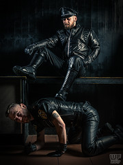 Tom & Joe in Black Leather (WF portraits) Tags: aut usa man men couple model onlocation black leather gayleather fetish gayfetish pose master servant boots cap gloves