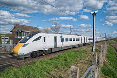 Hitachi IEP Class 800 800003 & 800004 'Sir Daniel Gooch' (Barry Duffin) Tags: train trains travel transport tracks rail railway retford railscape railroad blue bluesky clouds diesel loco locomotive ecml sunshine 2017 iep class800 hitachi 800003 800004 5x90 northpole doncaster nikon nik dslr d3000 photo photography photoshop uk ukrail england britain superexpress atrain vehicle outdoor