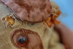 The Teddys Eye (Neyol) Tags: clothtextile macromondays macro monday cloth textile color colour canon 70d neyol brown dof bloured blured eye teddy teddybear bear ragged tatty
