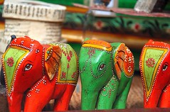(The Three Amigos!) (antonychammond) Tags: red orange green toys elephants indianelephants modelelephants