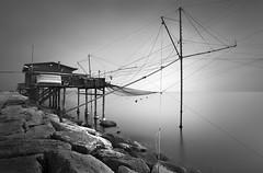 Sottomarina (Rohan Reilly Photography) Tags: longexposure venice blackandwhite bw italy mist seascape blanco lines fog canon fishing italia fineart lagoon huts nets pesca chioggia veneto n110 rohanreilly netsvenice