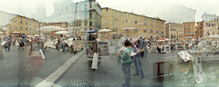 Piazza Navona art market (pho-Tony) Tags: rome 35mm lens 1 lomography 200 vista blender kit halfframe fullframe agfa ultrawide blend poundland agfavista c41 17mm ultrawideangle superwide tetenal lcwide lomolcw lomolcwide minigon17mm minigon
