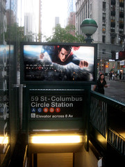 Superman 0357 (Brechtbug) Tags: street new york city nyc blue red man work dark comics painting movie poster square book dc paint theater comic near steel character alien bat working broadway s superman billboard advertisement adventure hero superhero billboards knight worker shield times insignia krypton 46th 2013