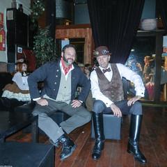 The Gentlemen! (JF Sebastian) Tags: barcelona portrait hat costume pub boots goggles steampunk morethan100visits nikoncoolpixs9100 eurosteamcon2012