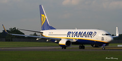 Ryanair 737-800 (175 New Boeing Ordered) Logo (birrlad) Tags: ireland dublin sunlight up airplane airport haze taxi aircraft aviation airplanes line landing heat approach takeoff runway airliner