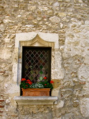Window with Flowerbox (K.G.Hawes) Tags: street old city flowers windows red france streets flower building window fleur beautiful stone architecture fleurs buildings french ancient stones creative commons medieval historic cobble cobblestone cc creativecommons ornate cobbles walled ain perouges prouges
