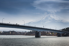 Fuji behind Bridge (notjustnut) Tags: bridge sky cloud mountain lake japan fuji fujisan mtfuji yamanashi kawaguchilake