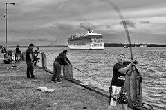 fishing for mackerel (zip po) Tags: street ireland blackandwhite mono fishing ship harbour cobh bnw utata:project=tw381