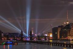 Berlin Oberbaumbrücke/Osthafen (Lens Daemmi) Tags: berlin night river germany lights nacht illumination fluss spree treptow lichter oberbaumbrücke osthafen aquarella 2013
