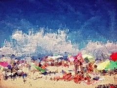 Memories Tend to Get Blurred with the Passing of Time (ale2000) Tags: blue people painterly blur colour beach seaside mare gente blu memories textures blender coloured ricordi vacations spiaggia vacanze reworked repix marinaditorredellago kitcam snapseed phototoaster uploaded:by=flickrmobile flickriosapp:filter=original