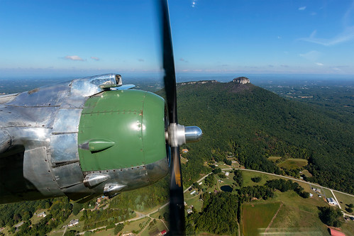 B-25 Panchito over Pilot Mountain, North Carolina