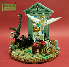 The Four Horsemen (Blake's Baericks) Tags: horse tree grass dead skeleton death gold whimsy war heaven arch lego pegasus hell apocalypse victory gateway pillars vignette base chariot disease whimsical conquest pestilence vision:text=071