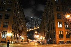 DUMBO (Narratography by APJ) Tags: street nyc bridge ny brooklyn night clouds lights dumbo apj narratography