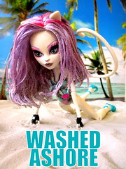 Washed Ashore (the_alien_experience) Tags: white beach wet monster cat hair de high sand kat purple skin mew catrine demew