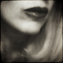 patiently (*storyteller*) Tags: light blackandwhite selfportrait texture me mouth square nikon lips squareformat 2011 d300s