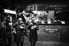 Take Away (stephen cosh) Tags: life street city people blackandwhite bw london sepia mono town camden candid streetphotography rangefinder reallife urbanlife humancondition blackandwhitephotos 50mmsummilux blackwhitephotos leicam9 stephencosh leicammonochrom leicamm