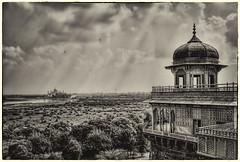 Agra IND - Agra Fort Musamman Burj and Taj Mahal